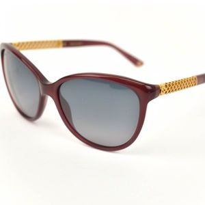 Burgundy Gold-Plated Diamante & GG Sunglasses (mn)